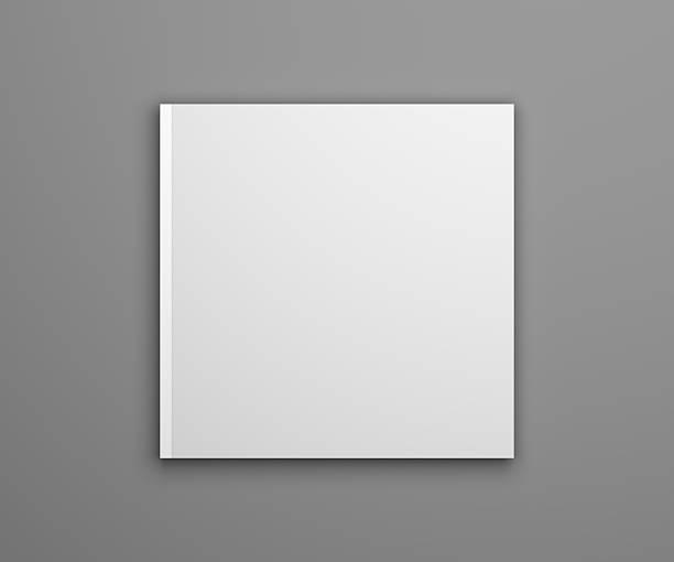 Blank 3D illustration square brochure cover mock-up stock photo