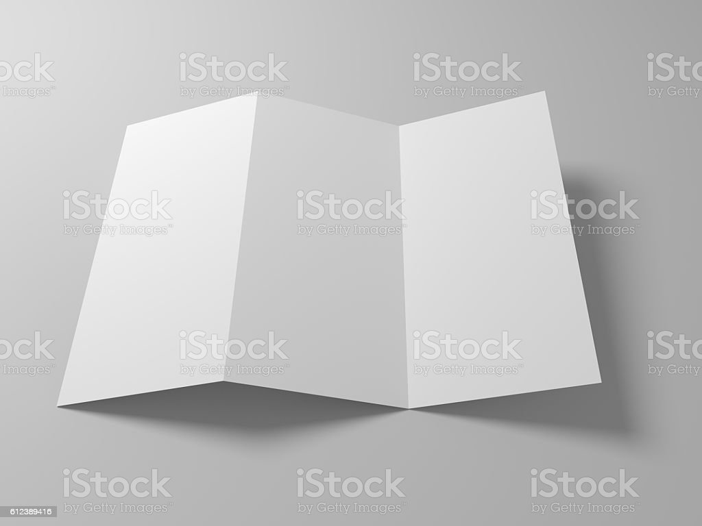 Blank 3d illustration tri-fold brochure mock-up. stock photo