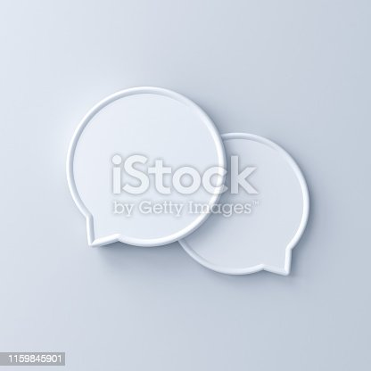 istock Blank 3d speech bubbles isolated on white background with shadow 1159845901