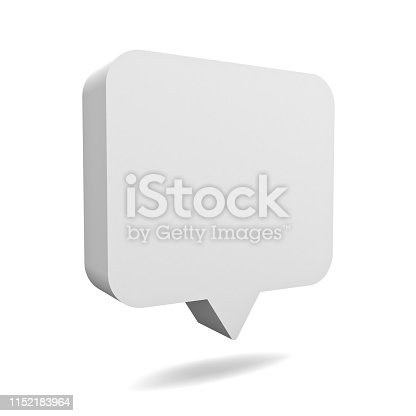 1125351850istockphoto Blank 3d white speech bubble pin isolated over white background with shadow 3D rendering 1152183964