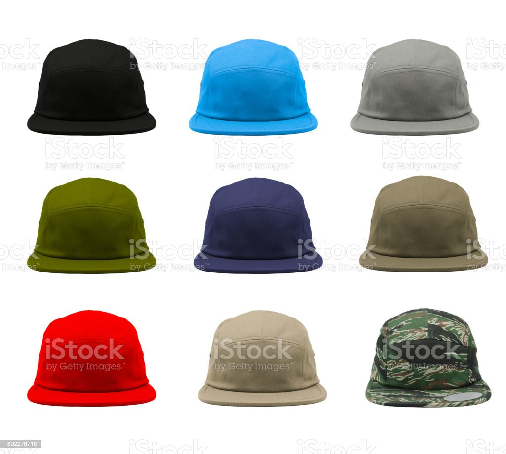 Blank 5 panels jockey camper cap 9 set stock photo