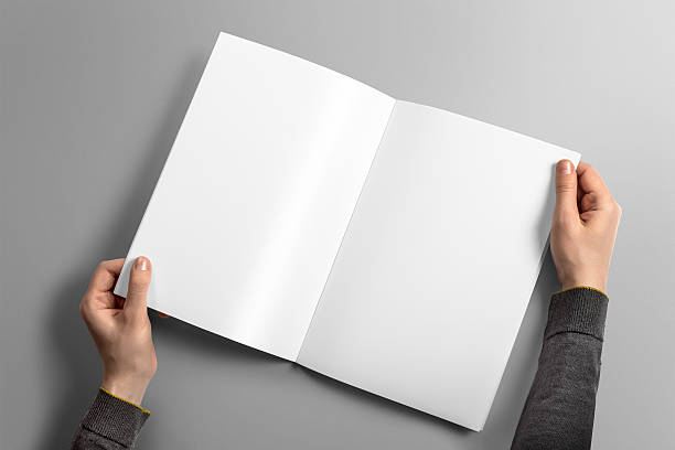 blank a4 brochure mockup on light grey background. - magazine mockup stock photos and pictures