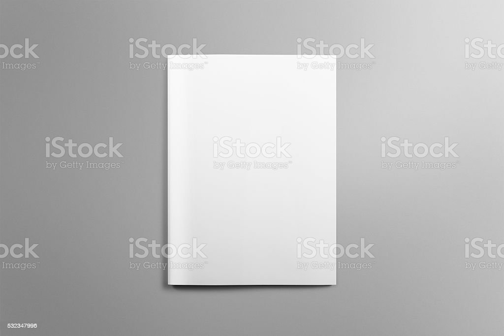Blank A4 brochure mockup on light grey background. stock photo