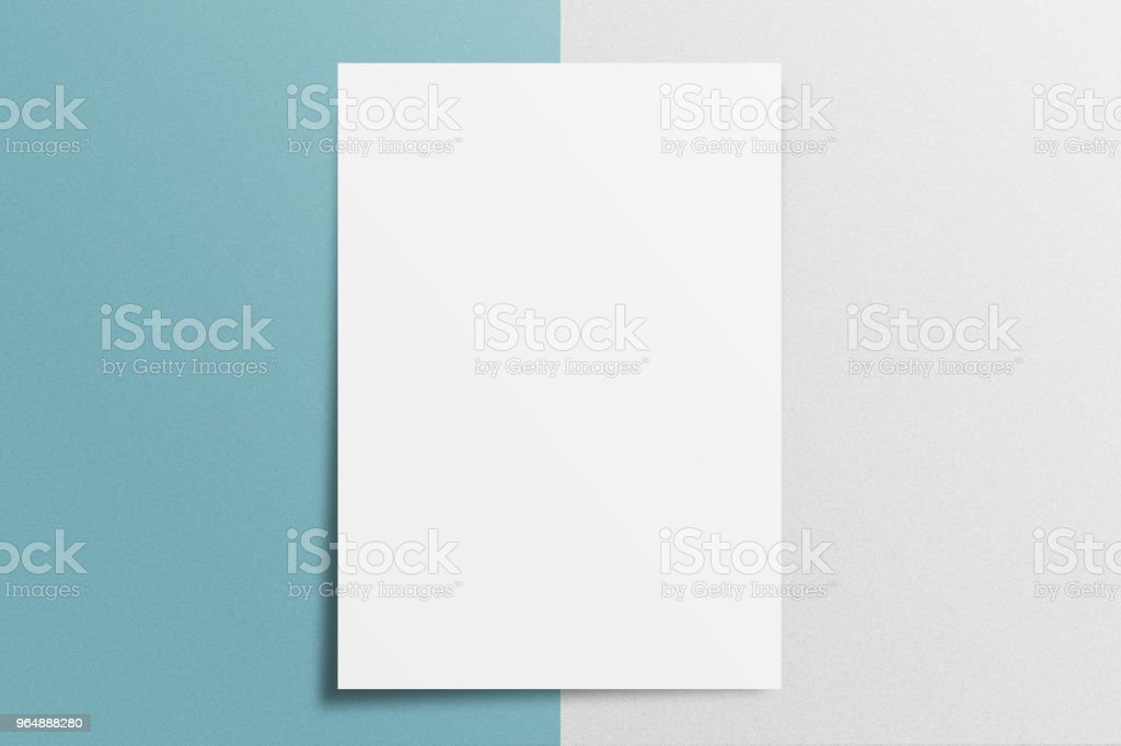 Blank A4 paper template on two color paper with blue and gray of background. royalty-free stock photo