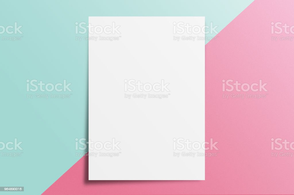 Blank A4 paper template on two color paper with blue and pink of background. royalty-free stock photo