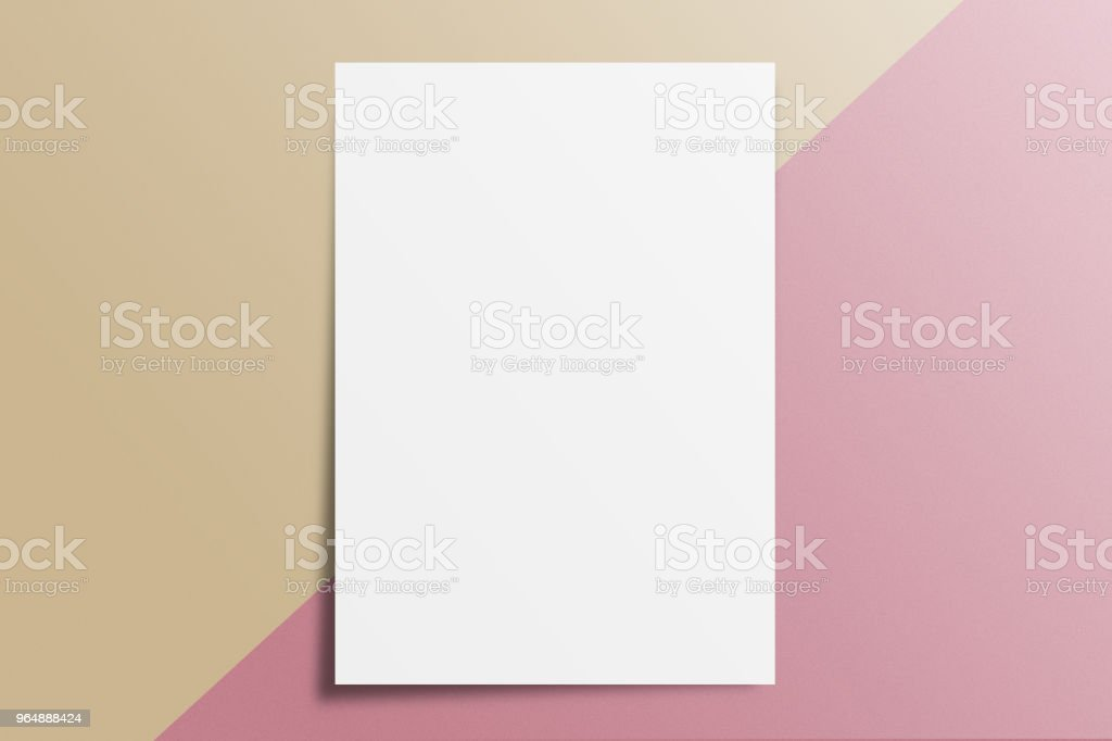 Blank A4 paper template on two color paper with brown and pink of background. royalty-free stock photo