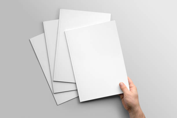 blank a4 photorealistic brochure mockup on light grey background. - magazine cover stock photos and pictures