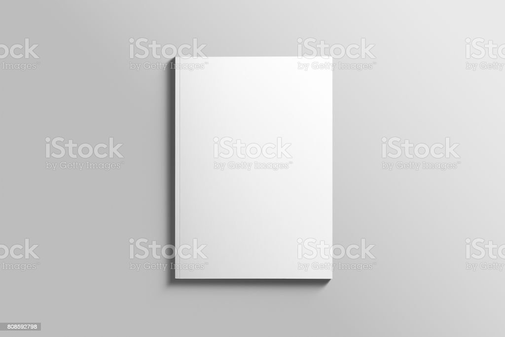 Blank A4 photorealistic brochure mockup on light grey background. stock photo