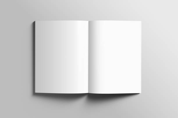 blank a4 photorealistic brochure mockup on light grey background. - open stock photos and pictures