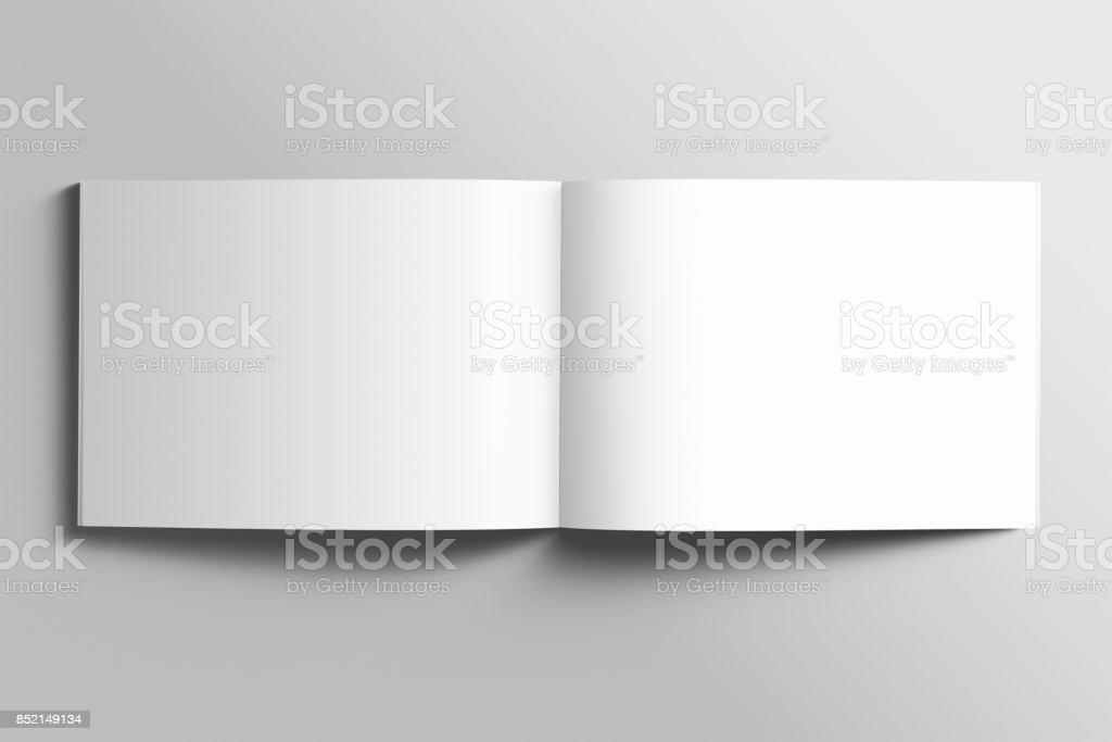 Blank A4 photorealistic landscape brochure mockup on light grey background. stock photo