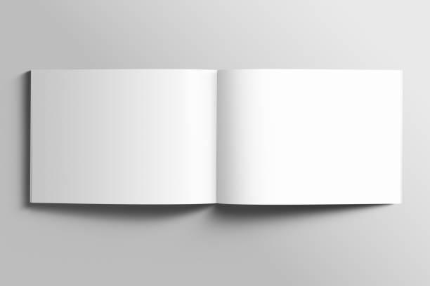 vierges de maquette de brochure a4 paysage photoréaliste sur fond gris clair. - livre ouvert photos et images de collection