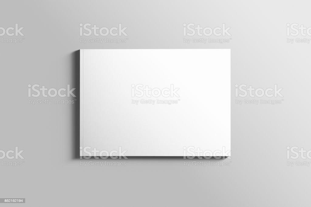 Blank A4 photorealistic landscape brochure mockup on light grey background. - foto stock