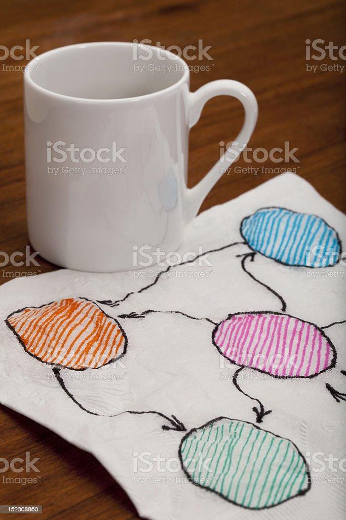 blank abstract flowchart on napkin royalty-free stock photo