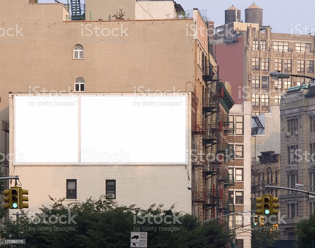Blank ad billboard space in Manhattan stock photo