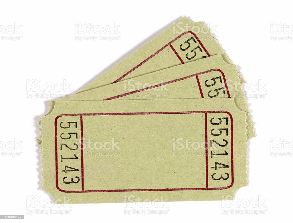 Blank admission or raffle tickets royalty-free stock photo