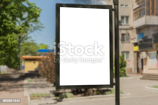 istock Blank advertisement board on the street of the city. 969981840