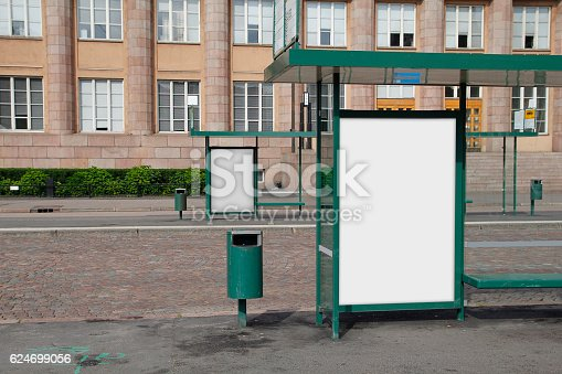 istock Blank advertisement in a bus shelter 624699056
