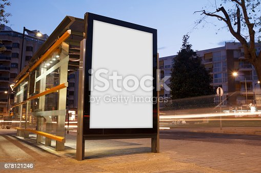 istock Blank advertisement in a bus stop 678121246