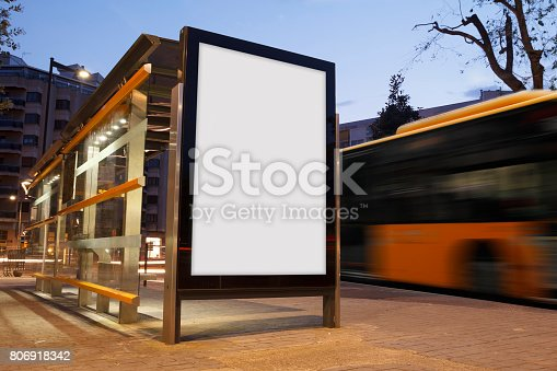 istock Blank advertisement in a bus stop 806918342