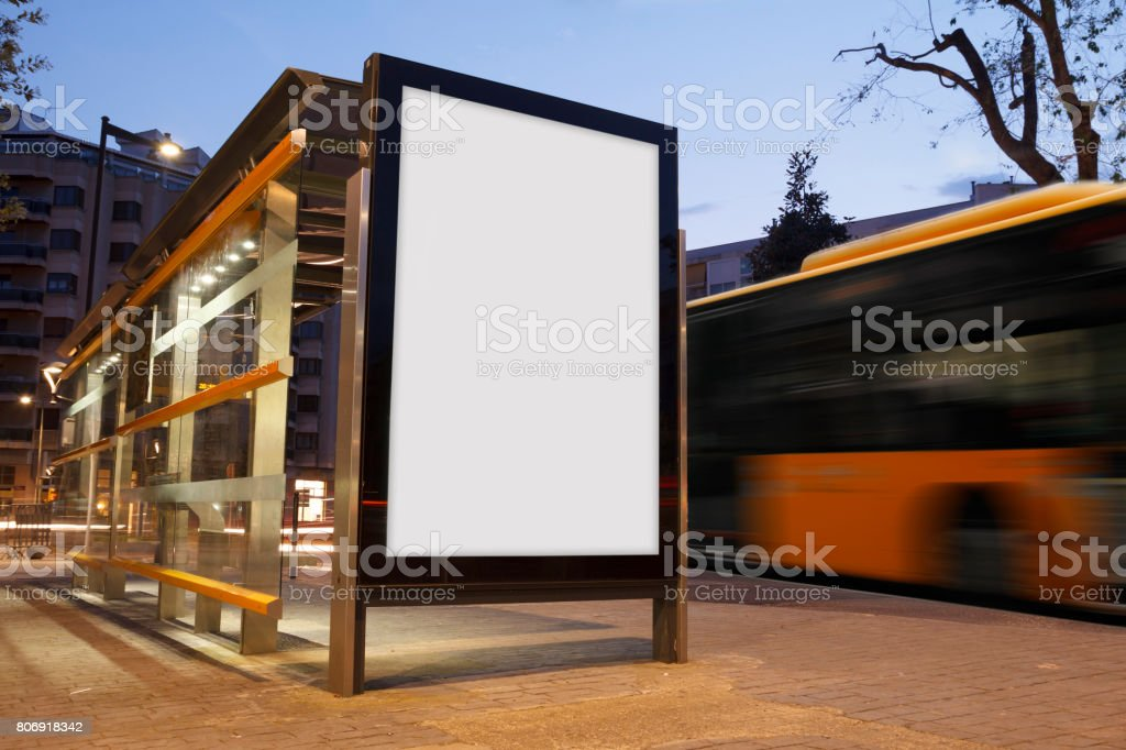 Blank advertisement in a bus stop stock photo