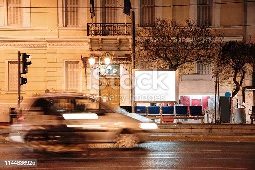 istock Blank advertisement panel at night 1144836925