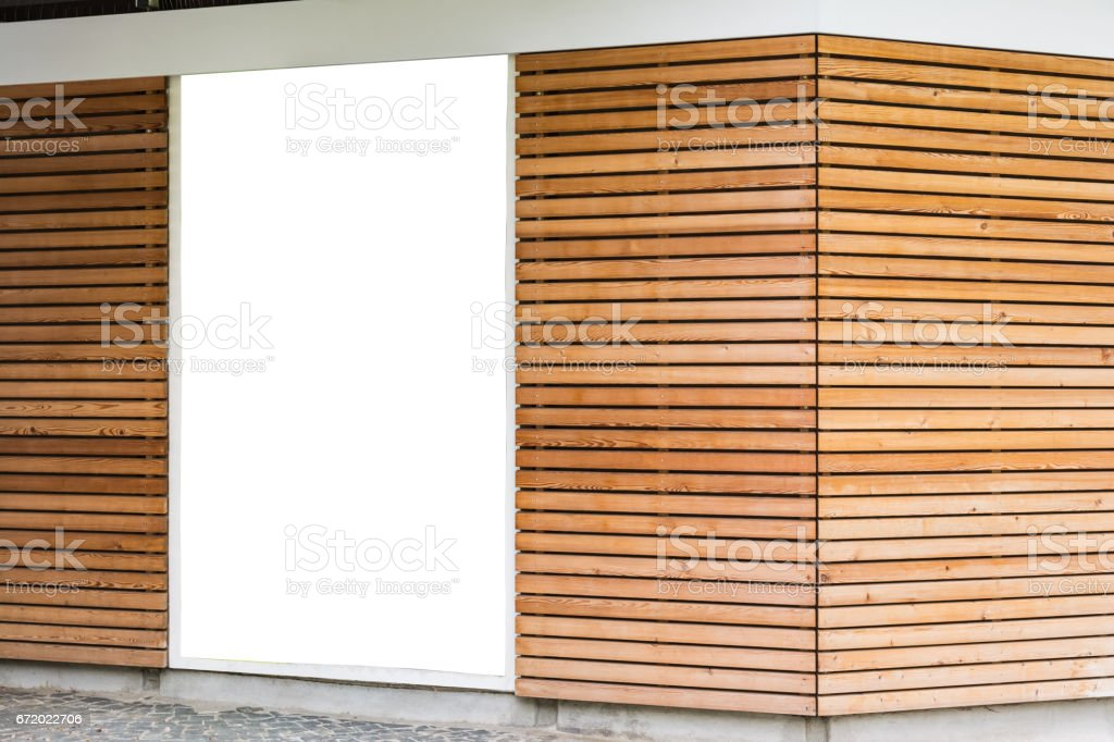 Blank Advertisement Poster Wooden Modern Design Planks Cafe Exterior Large stock photo