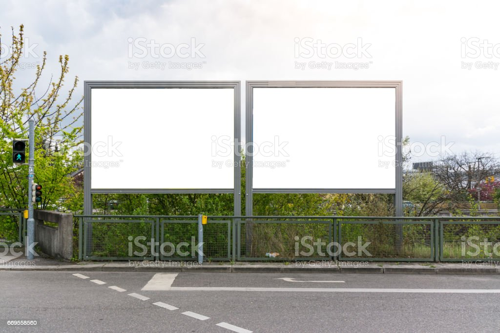 Blank Advertisement Sign City Urban Public White Isolated Clipping Path stock photo