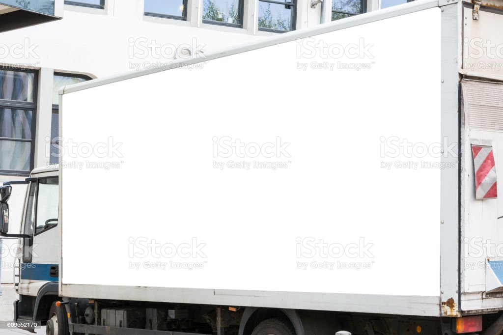 Blank Advertisement Small Truck Automotive Public Outdoors White Isolated Clipping Path stock photo