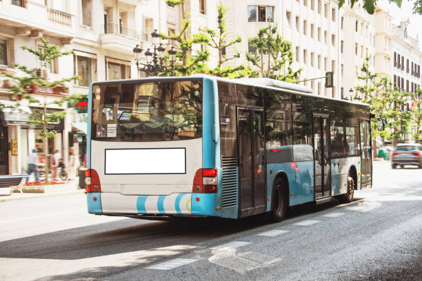 Blank advertisement space at bus stock photo