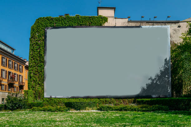 Blank advertisement space on wall next to grass and vines. stock photo