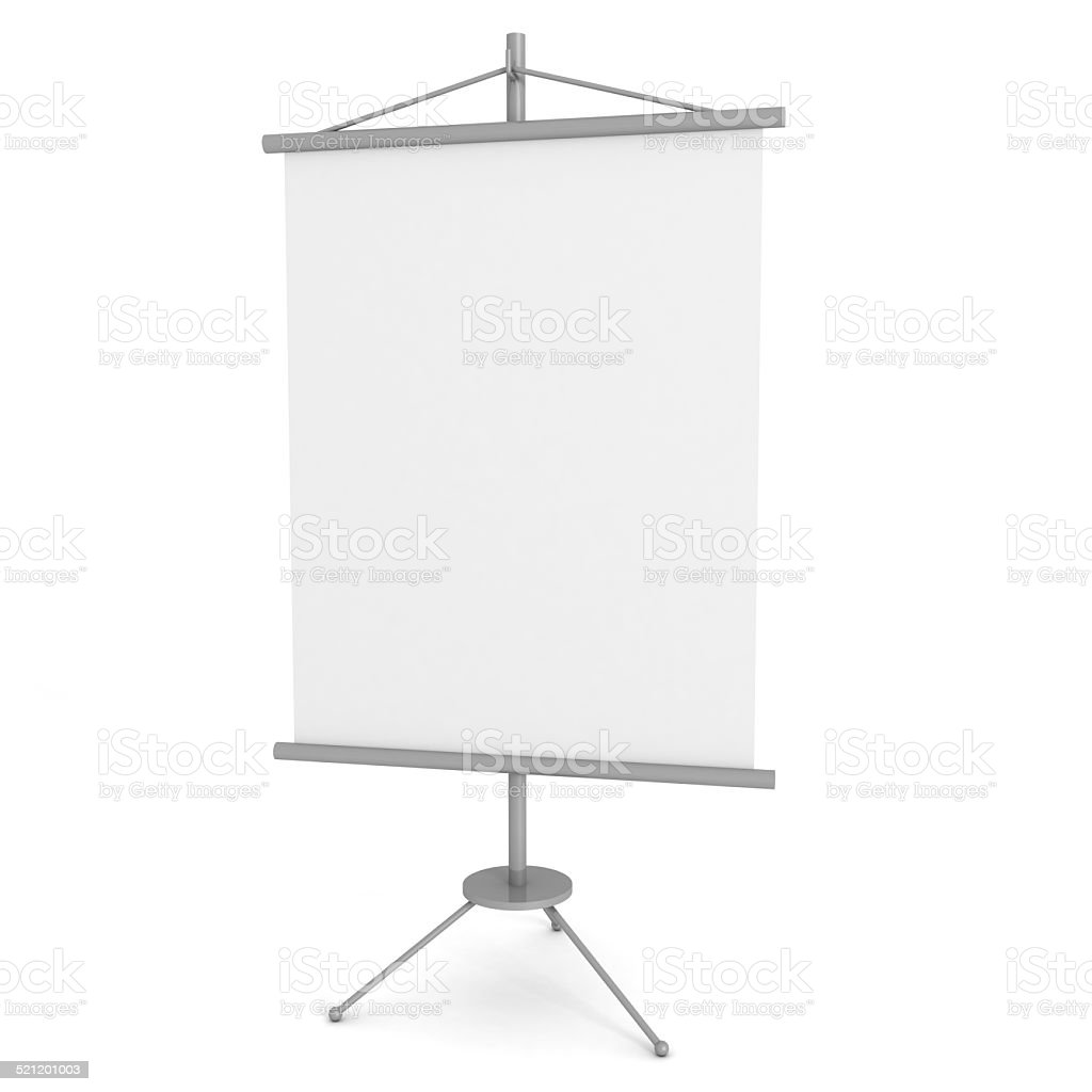 blank advertising banner stand on white background stock photo