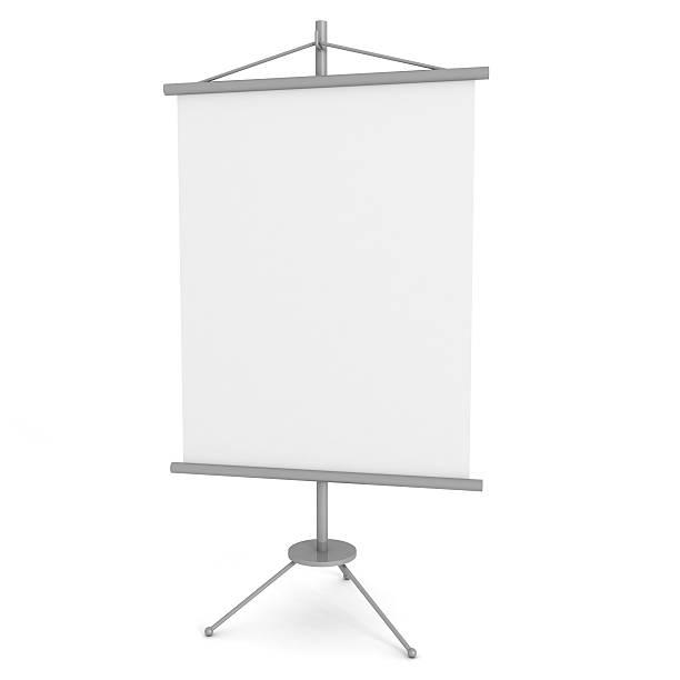 leere werbung banner stand auf weißem hintergrund - spruchband stock-fotos und bilder