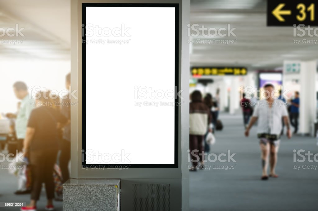 blank advertising billboard at airport. stock photo