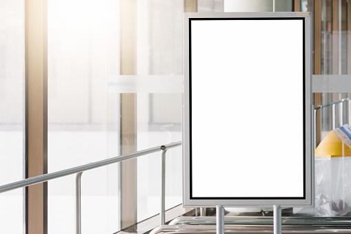 Blank Advertising Billboard At Airport Stock Photo - Download Image Now
