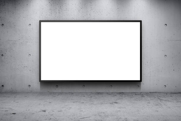 blank advertising billboard led panel on concrete wall building street roadside background - ad template stock photos and pictures
