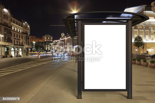 istock Blank advertising billboard on bus stop 845999978
