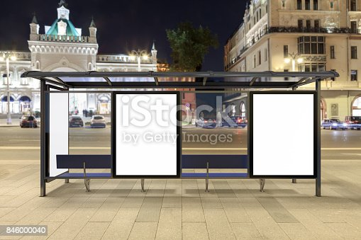 istock Blank advertising billboard on bus stop 846000040