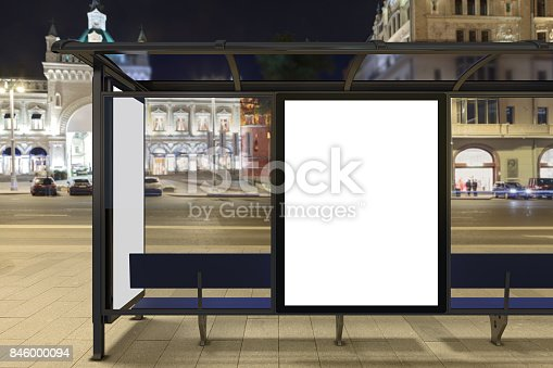 istock Blank advertising billboard on bus stop 846000094