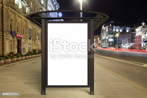 istock Blank advertising billboard on bus stop 846000224
