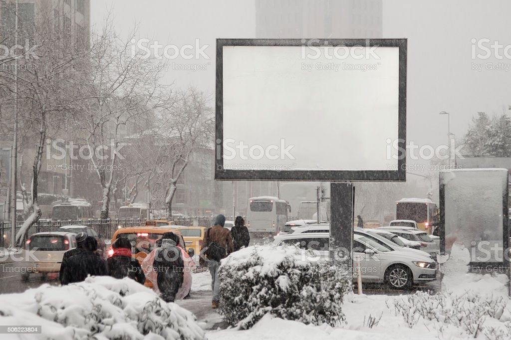 Blank advertising billboard on city street stock photo