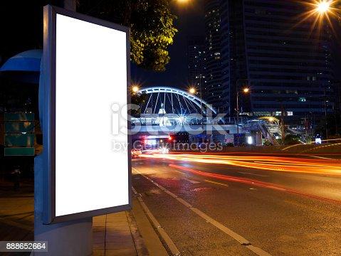 istock Blank advertising billboard on pathway 888652664