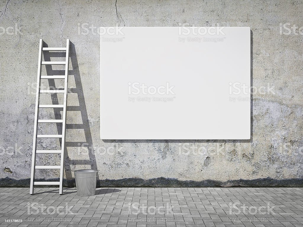 Blank advertising billboard on wall royalty-free stock photo