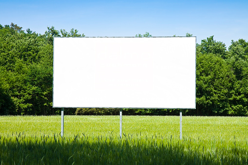 A blank advertising billboard immersed in a wheat field