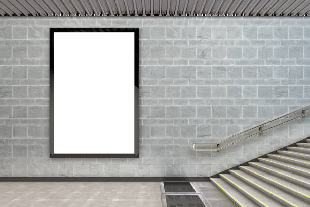 Blank advertising billboard poster Blank vertical billboard poster underground. 3d illustration underground stock pictures, royalty-free photos & images