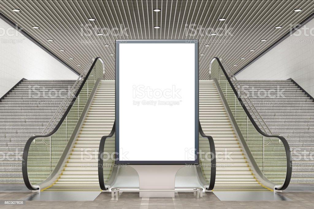 Blank advertising billboard stand stock photo