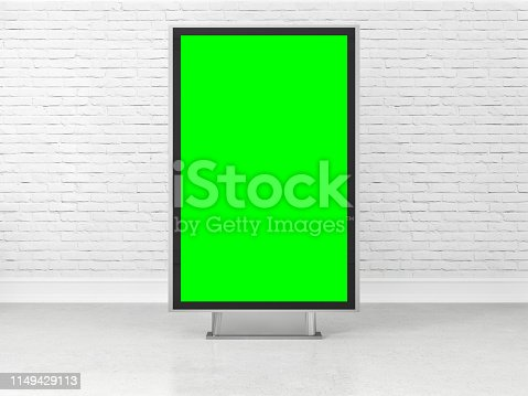 istock Blank advertising billboard with green screen 1149429113