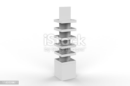 istock Blank Advertising Corrugated Supermarket Retail Promotion Cardboard Display Shelf for Pet Product Snacks Chocolate Instant Noodles. 3d Render Illustration. 1150509611