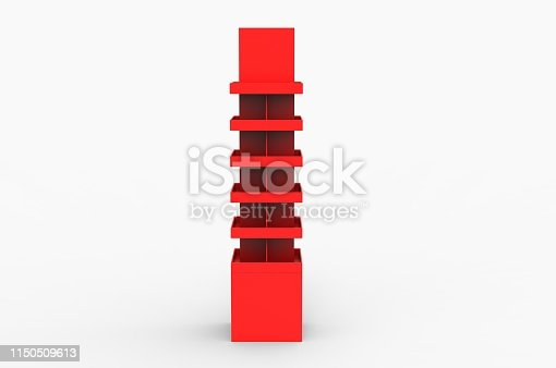istock Blank Advertising Corrugated Supermarket Retail Promotion Cardboard Display Shelf for Pet Product Snacks Chocolate Instant Noodles. 3d Render Illustration. 1150509613