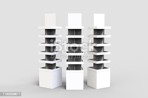 istock Blank Advertising Corrugated Supermarket Retail Promotion Cardboard Display Shelf for Pet Product Snacks Chocolate Instant Noodles. 3d Render Illustration. 1150509617