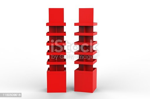 istock Blank Advertising Corrugated Supermarket Retail Promotion Cardboard Display Shelf for Pet Product Snacks Chocolate Instant Noodles. 3d Render Illustration. 1150509618